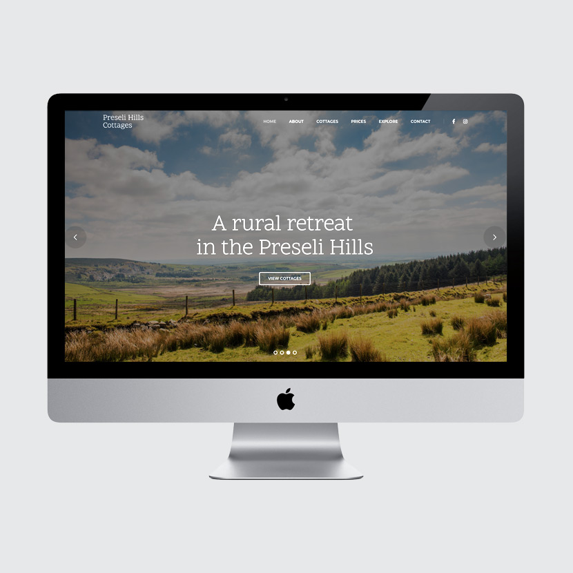 Preseli Hills Cottages web design