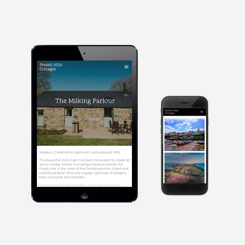 Preseli Hills Cottages website design